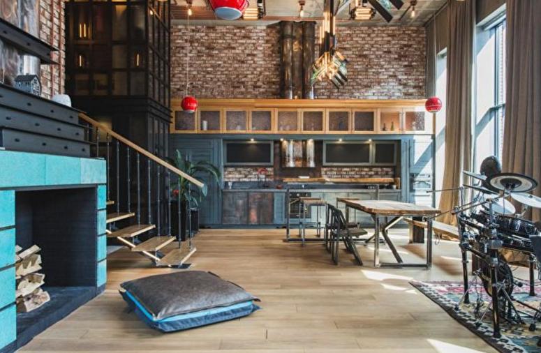 Синяя кухня в стиле лофт