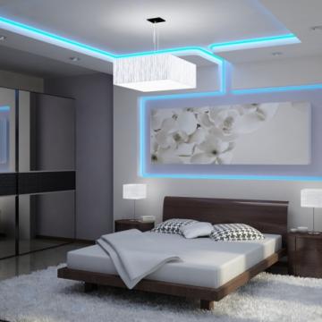 Освещение в спальной комнате в стиле хай-тек