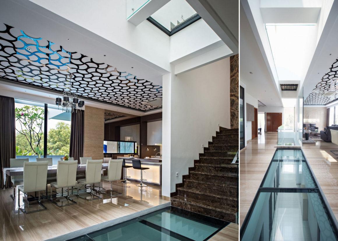 Новинка дизайна – стеклянный пол на кухне